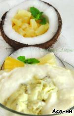 Сливочно-кокосовое суфле с ледяным ананасовым соусом – кулинарный рецепт