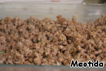 Half of the minced meat,