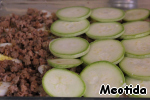 Remnants of meat,  cut into slices zucchini,