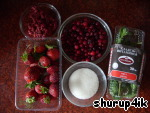 Ingredients for compote: strawberry, strawberries, cranberries, sugar, mint.