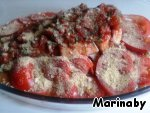 Cover with the sauce, put the tomatoes, sprinkle with breadcrumbs and bake in the oven at moderate temperature for about 60 minutes.