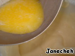 Heat milk with butter again before it reaches a boil, pour in the batter and mix.