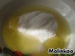 RUB the eggs with sugar, add vanilla sugar, salt, cheese. Stir until smooth.