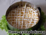 3 layer - cheese, grated on a coarse grater, and a thin layer of mayonnaise;