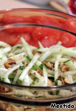 Cucumbers, mix with chopped nuts.