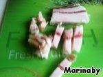 Cut strips of salty bacon