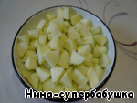 Apples peel and core and cut into large cubes.