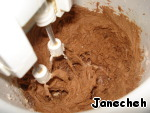 Then add flour with baking powder and cocoa make dough.