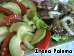 On a plate put lettuce, tomato, avocado and celery.  In the center of a plate heaped put the liver.  For the sauce, mix olive oil and soy sauce until smooth, season the salad just before serving.  You can sprinkle the salad with sesame seeds or pine nuts.