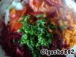 Пассеровка овощей (свекла, морковь, лук, помидоры, перец, зелень)