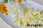 Zucchini, peel and cut into cubes of medium size,  bow too.