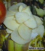 Apples wash, peel, cut into slices