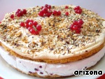 Before applying go through the rim a hot dryer, to remove it and, if desired, decorate the cake with sprigs of red currants.  Bon appetit!