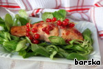 Serve on lettuce, garnished with sprigs of red currants! Unforgettable taste!  An unforgettable summer for you!