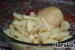 First we need potatoes wash, peel and cut into strips or cubes.  Fill a pot with one liter of water, add sliced potatoes, salt and then boil it for 7-8 minutes.