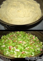Turn on the oven at 200*C.   The dough is put into the form, covered with baking paper or greased and sprinkled with semolina (I have a form 26 cm).  On top of the dough spread chopped rhubarb.