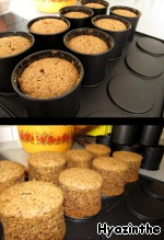 Ready, slightly cooled muffins exempt forms