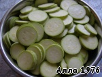 Zucchini cut into rings.