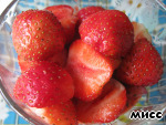 """The remaining whole strawberries cut in half and put the onion """"cushion""""."""