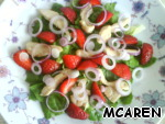 Tear salad, chicken bake in the oven and cut, onion cut into rings, strawberries, depending on size.  Spread on a platter lettuce, chicken, strawberries and onion. Separately mix vinegar, mustard, salt and sugar to taste, pour our salad and leave to soak.