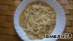 Put on the pancake with grated cheese.