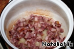 Bacon cut into small pieces. Fry in a pan on medium heat until Golden brown, about 7-8 minutes (in vegetable oil).