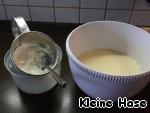 Муку, крахмал и разрыхлитель перемешать, просеять и ввести в тесто. Взбить миксером до однородности.