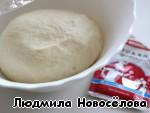 По рецепту, напечатанному на пачке дрожжей Саф-момент, замесила тесто и испекла пампушки, которые отлично подходят к творожной пасте.