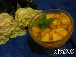 Mango clean, remove the bone and cut into thin slices. Then put mango in a bowl and cover with the syrup. Put into the fridge for 35-40 minutes. Before you serve, put in bowls or kremanki and garnish with mint leaves. And enjoy. ;)