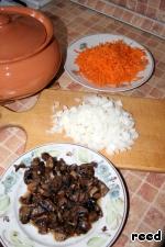 Пока наше тесто подходит, займемся приготовлением щей. Лук и грибы нарезать, морковь натереть на терке.