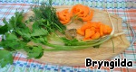 Prepare the vegetables for the broth.