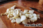 Onion cut into half rings, garlic finely chop.