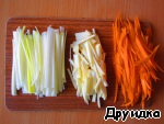 Leek, celery and carrots cut into thin strips.