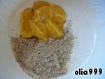 К желткам добавляем апельсиновое пюре и молотый миндаль, перемешиваем и выливаем шоколад. Еще раз хорошенько перемешиваем. Яичные белки взбиваем в крепкую пену, добавим сахар и взбиваем до образования плотной массы.
