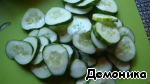 """Cucumbers thinly slice. You can use a grater type """"burner"""".  If the cucumbers thin, young, beautiful cut diagonal slices.  But you can use very certified and not cucumbers. Just cut them to slices."""