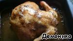 Снова вынимаем курицу и поливаем соками. Снова ставим на час в духовку.   На фотографии курица спустя 2 часа от начала готовки. Начала слегка желтеть.