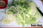 Finely shred the cabbage and boil it until tender in lightly salted water (the water with milk in the ratio of 4:1).