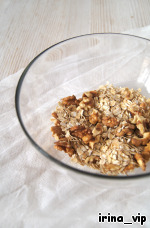 Cereal and chopped nuts into crumbs using a blender.