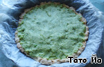 Spread the filling of peas into the pie shell, return to oven and bake another 15 min.