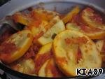 Then add tomato paste, sunflower oil, vinegar, sugar, salt, water. Mix well.