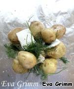 Выкладываем на фольгу картофель, укроп, пару кусочков масла.