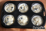 Put the dough (at 2/3 volume) in paper molds, which are placed in the form for baking muffins.  Bake in a preheated 200*C oven for 20-25 minutes.