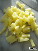 Boil potatoes in skins, cool, peel and slice.