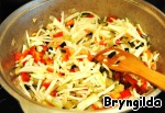 In a pan fry a little onion, then add finely chopped eggplant, then add bell pepper.