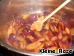 Introduce the prepared plums and allow to simmer for 5 minutes.