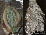 Nafarshiruyte flounder cheese mixture, drizzle with vegetable (olive) oil, wrap gently in foil. Put in the oven for 20 minutes at T=170 degrees.