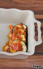 Eggplants - a few spoonfuls of the sauce.