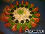 Decorate top olives.
