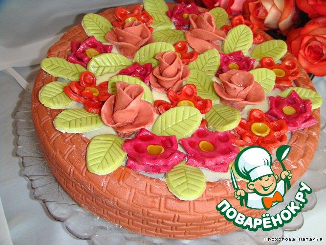 """Торт """"Корзина с цветами"""" или """"Вишня в шоколаде"""""""