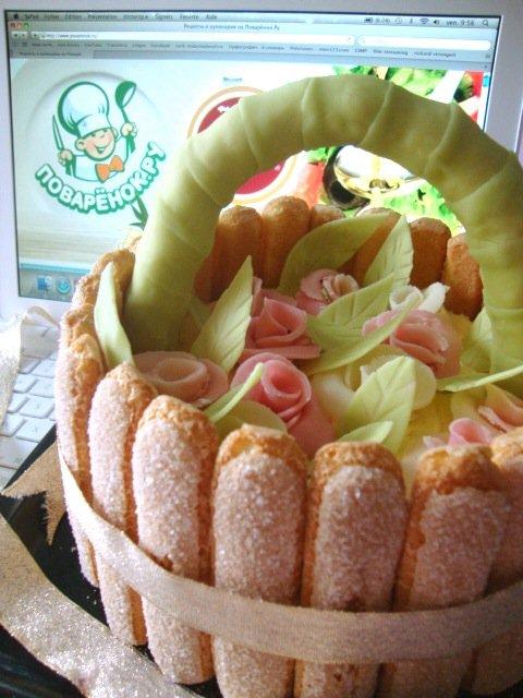 Праздничный торт Корзинка роз для Поваренка